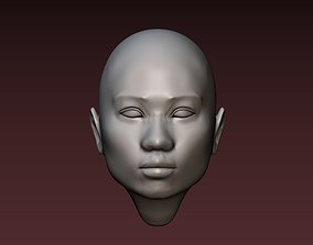 Female head 2 asian woman 3D print model