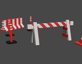 Jersey A - frame barricade Traffic Cone and 3D asset
