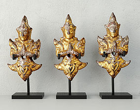 3D model 19th-C Thai Gilded Angels