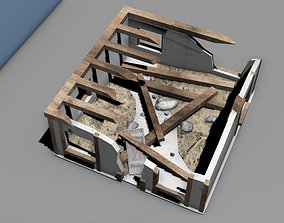 Destroyed house building 3D model game-ready