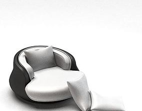 3D Modern Silver Black Chair