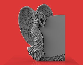memorial tombstone with angel 3D