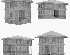 Lowpoly Medieval House Set 3D model