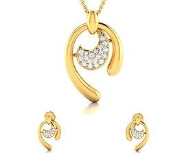 gem Women pendant-earrings set 3dm render detail