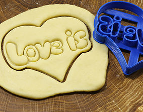 Stamp LOVE IS cookie cutter for 3D printable model