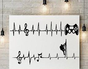 3D printable model HEART BEAT GAMING I MUSIC I CLIMBING 2D