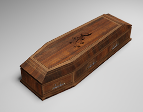 3D model low-poly Classic Medieval Coffin