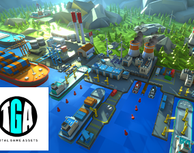 3D model animated Unity Low Poly Dock