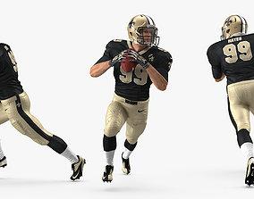 3D American Football Player New Orleans Saints Running
