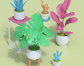 3D model Stylized Cartoon Houseplant Collection