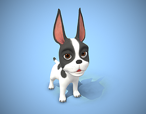 cartoon frenchie puppy 3D model