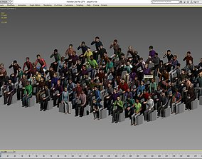 100 low poly sitting people 3D asset