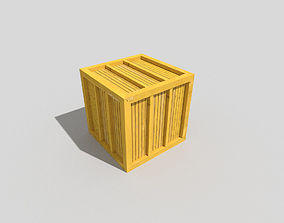 low poly wooden crate 3D model realtime