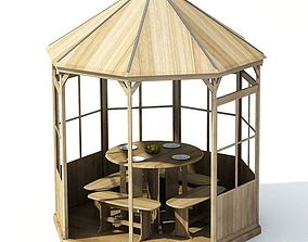 furniture Wooden Garden Alcove 3D