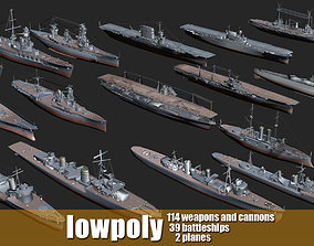 3D asset Battleship Set Vol01 LowPoly GameModel