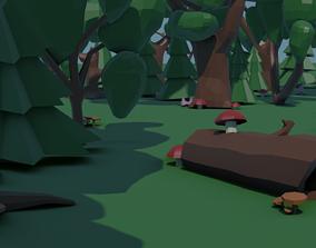 3D asset Low-poly tree set GameDev
