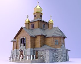 3D Church with a wooden log house