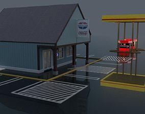 Gas Station 3D model freeway