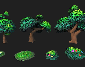 3D asset Tree Low poly