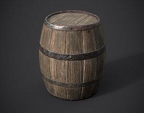 Old Barrel PBR 3D asset low-poly
