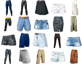 20 Trousers and Skirts Women Collection Fashion 3D asset