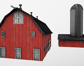Barn with Silo PBR 3D asset