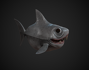 3D asset low-poly Stylized Shark