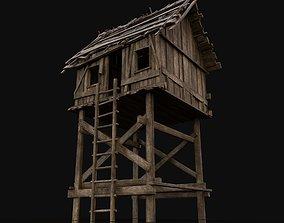 Wooden Medieval Watchtower 3D asset