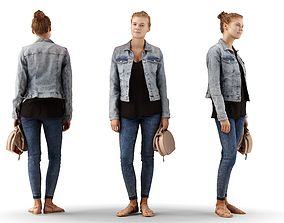 Ieva 06 Woman posed standing in casual jeans 3D model 1