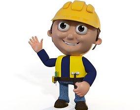 rigged Cartoon Builder Contruction Worker Man Character 3D