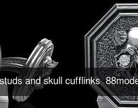 Skull earrings studs and skull cufflinks 88models