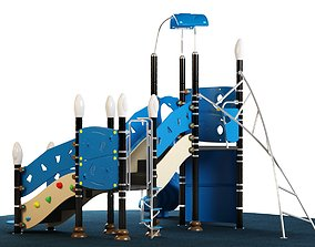 Kids playground equipment with slide climbing 03 3D