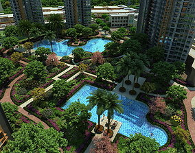 3D Residential community courtyard 020