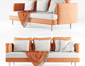 3D Three-seater sofa with plaid