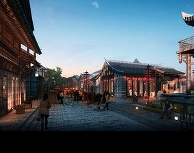Ancient Chinese Commercial Street 005 3D