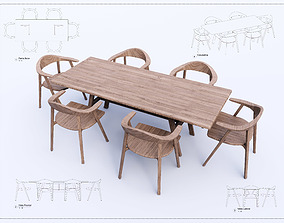 Table and Chair Revit High Quality 3D model house
