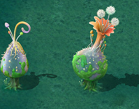 Cartoon version - hollow transparent spores 3D model
