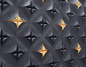 Dune Black and gold tiles pattern 3D model