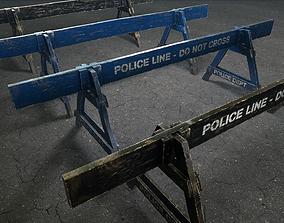 Crime Scenes - Wooden Police Barrier 3D asset