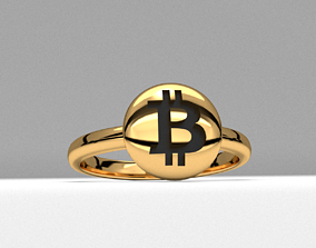 bitcoin crypto new fashion jewelry ring 3d