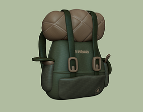 Green Tree Camping Backpack - Character Costume 3D model