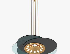Green and Gold Chandelier Lamp 3D