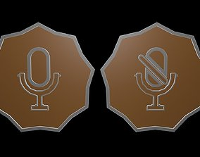 3D asset Low poly logo microphone 2