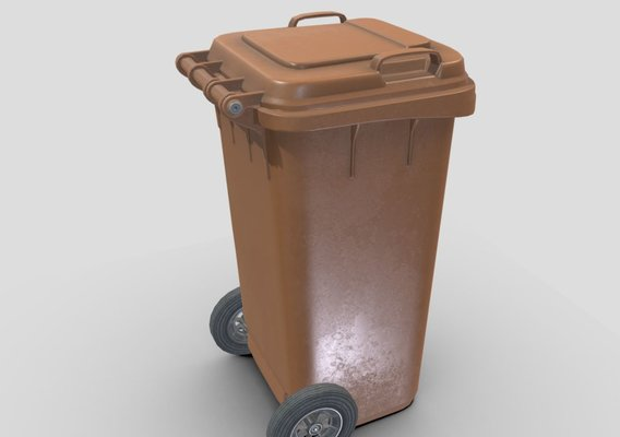 Brown plastic waste bin 240 liters 1075x515x582