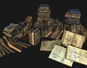 Old Books Collection 3D model realtime PBR