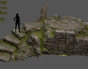 3D model game-ready old temple