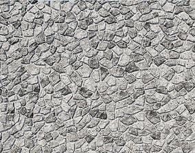 Natural Grey Granite Stone Wall 3D Model