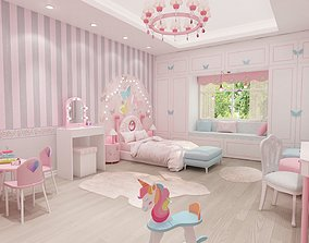 girls bedroom 3D model horse