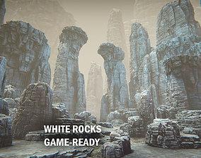 White rocks 3D asset game-ready