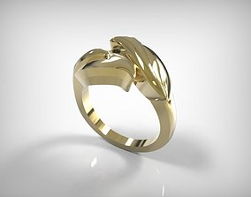 3D print model Jewelry Golden Ring With Leave Detail